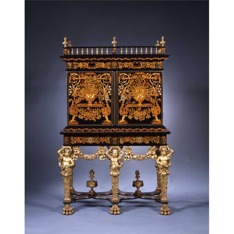 LOUIS XIV MARQUETRY CABINET ON STAND WITH GILT FIGURES, French, circa 1680