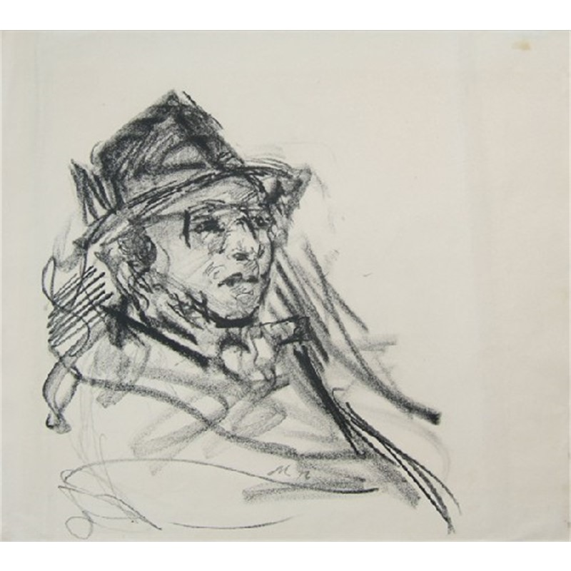 Head of Man with Hat and Sunglasses Study for Little Italy, 1976