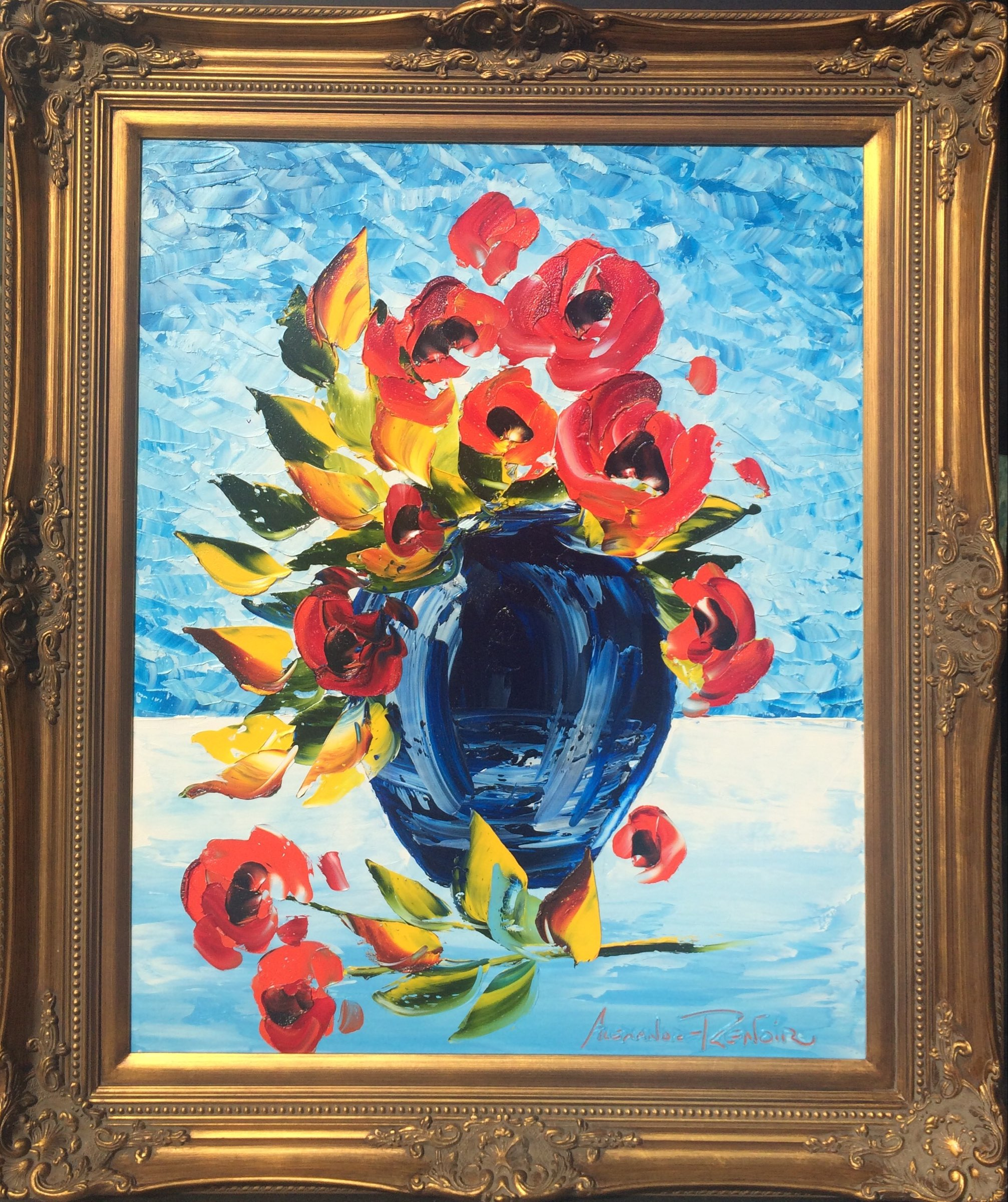 Blue Vase With Red Roses