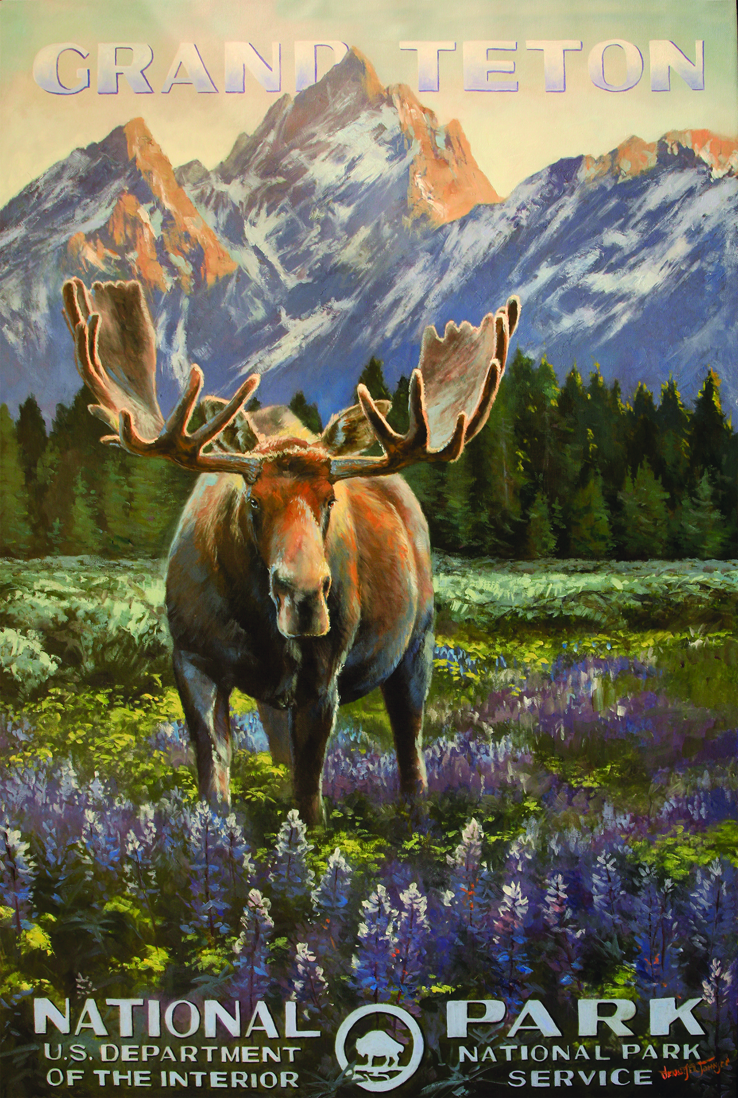 A Nostalgic National Parks Poster Reimagined By Artist Jennifer Johnson Features A Spring Moose In Front Of The Grand Teton Range